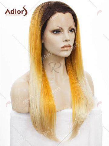 Hot Adiors Long Free Part Colormix Glossy Straight Lace Front Synthetic Wig - YELLOW  Mobile