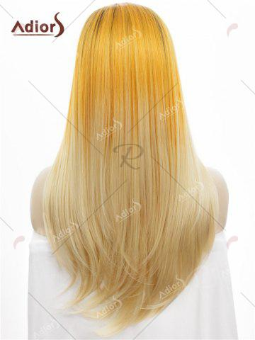 Latest Adiors Long Free Part Colormix Glossy Straight Lace Front Synthetic Wig - YELLOW  Mobile