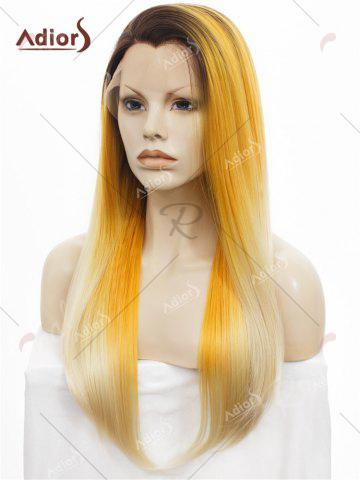Fashion Adiors Long Free Part Colormix Glossy Straight Lace Front Synthetic Wig - YELLOW  Mobile