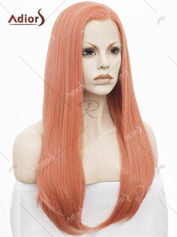 Latest Adiors Long Free Part Glossy Straight Lace Front Synthetic Wig - ROSE GOLD  Mobile