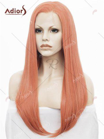 Affordable Adiors Long Free Part Glossy Straight Lace Front Synthetic Wig - ROSE GOLD  Mobile