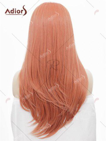 Fancy Adiors Long Free Part Glossy Straight Lace Front Synthetic Wig - ROSE GOLD  Mobile