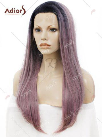 Chic Adiors Long Free Part Ombre Glossy Straight Lace Front Synthetic Wig - PINK AND GREY  Mobile
