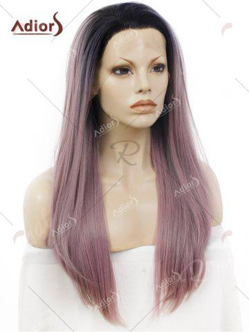 Hot Adiors Long Free Part Ombre Glossy Straight Lace Front Synthetic Wig - PINK AND GREY  Mobile