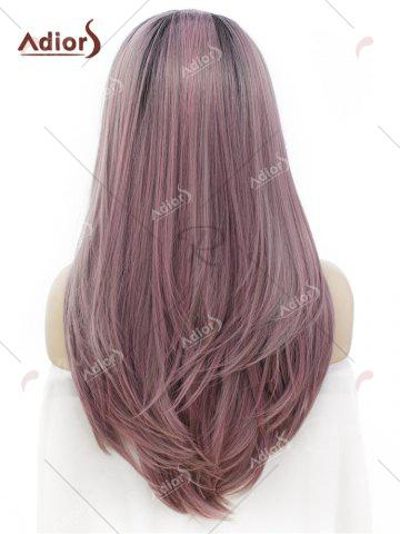 Latest Adiors Long Free Part Ombre Glossy Straight Lace Front Synthetic Wig - PINK AND GREY  Mobile