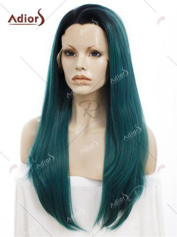 Fancy Adiors Long Free Part Ombre Glossy Straight Lace Front Synthetic Wig - BLACKISH GREEN  Mobile