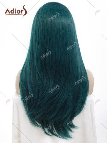 Store Adiors Long Free Part Ombre Glossy Straight Lace Front Synthetic Wig - BLACKISH GREEN  Mobile