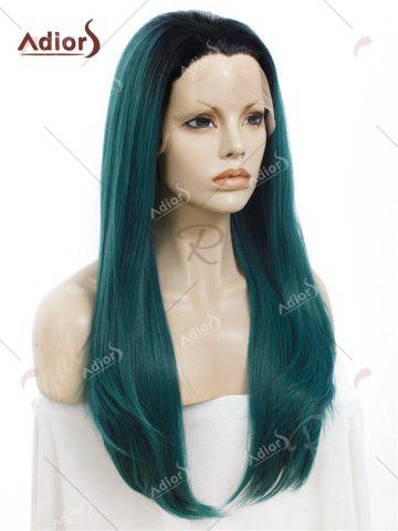 Outfits Adiors Long Free Part Ombre Glossy Straight Lace Front Synthetic Wig - BLACKISH GREEN  Mobile