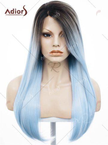 Store Adiors Long Free Part Ombre Glossy Straight Lace Front Synthetic Wig - WINDSOR BLUE  Mobile