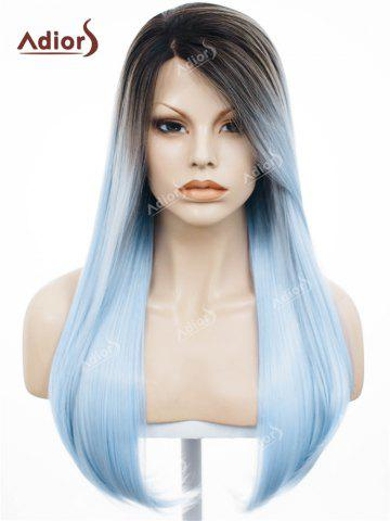 Fancy Adiors Long Free Part Ombre Glossy Straight Lace Front Synthetic Wig WINDSOR BLUE