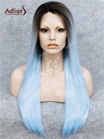 Shop Adiors Long Free Part Ombre Glossy Straight Lace Front Synthetic Wig - WINDSOR BLUE  Mobile