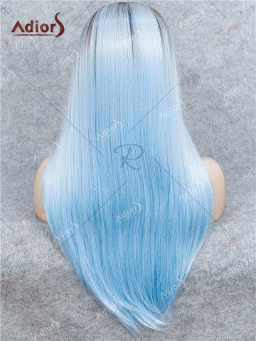 Latest Adiors Long Free Part Ombre Glossy Straight Lace Front Synthetic Wig - WINDSOR BLUE  Mobile