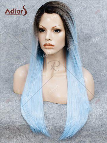 Online Adiors Long Free Part Ombre Glossy Straight Lace Front Synthetic Wig - WINDSOR BLUE  Mobile