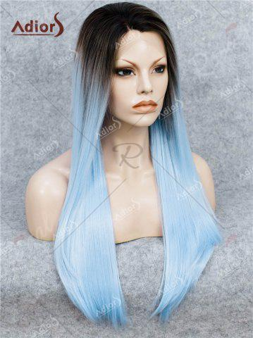 Hot Adiors Long Free Part Ombre Glossy Straight Lace Front Synthetic Wig - WINDSOR BLUE  Mobile