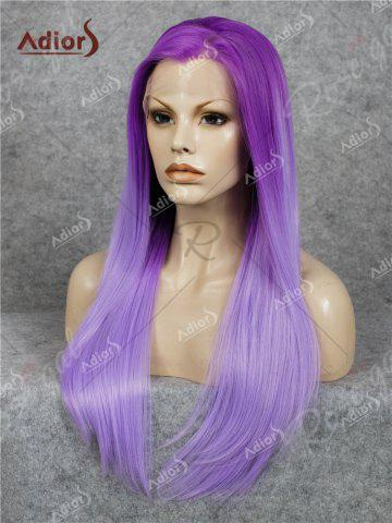 Latest Adiors Long Free Part Ombre Glossy Straight Lace Front Synthetic Wig - PURPLE  Mobile