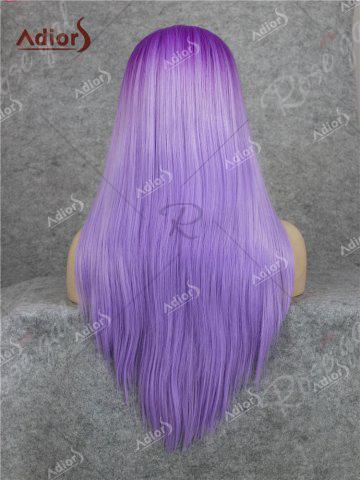 Outfits Adiors Long Free Part Ombre Glossy Straight Lace Front Synthetic Wig - PURPLE  Mobile