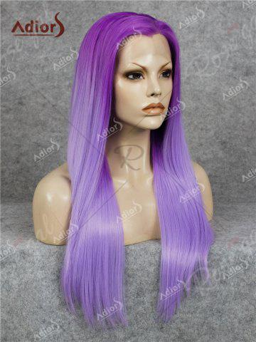 Online Adiors Long Free Part Ombre Glossy Straight Lace Front Synthetic Wig - PURPLE  Mobile