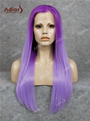 Adidas Long Free Part Ombre Glossy Straight Lace Front perruque synthétique Pourpre