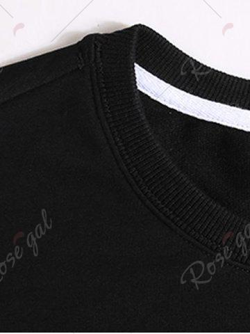 New Letters Printed Plus Size Pullover Sweatshirt - 3XL BLACK Mobile