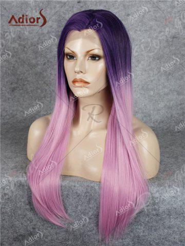 Store Adiors Long Free Part Ombre Glossy Straight Lace Front Synthetic Wig - PINK  Mobile