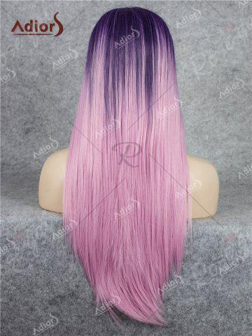 Shops Adiors Long Free Part Ombre Glossy Straight Lace Front Synthetic Wig - PINK  Mobile