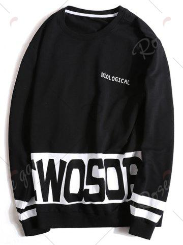 Discount Letters Printed Plus Size Pullover Sweatshirt - 3XL BLACK Mobile