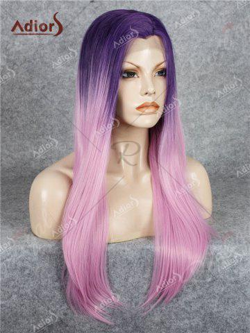 Fancy Adiors Long Free Part Ombre Glossy Straight Lace Front Synthetic Wig - PINK  Mobile