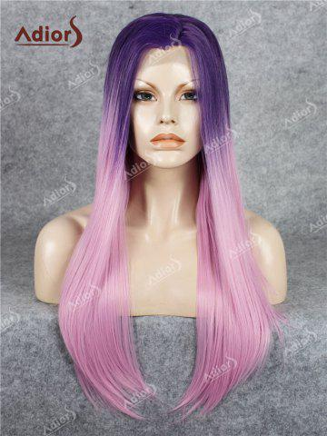Outfits Adiors Long Free Part Ombre Glossy Straight Lace Front Synthetic Wig - PINK  Mobile