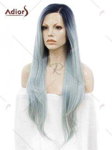 Online Adiors Long Free Part Ombre Glossy Straight Lace Front Synthetic Wig - LIGHT BLUE  Mobile