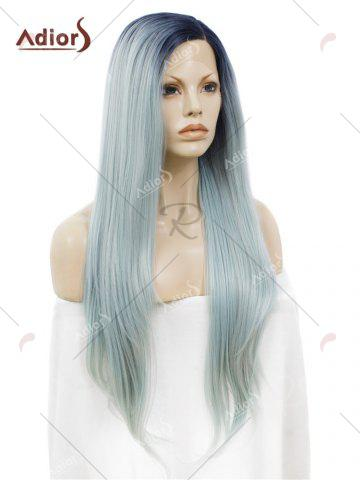 Outfit Adiors Long Free Part Ombre Glossy Straight Lace Front Synthetic Wig - LIGHT BLUE  Mobile