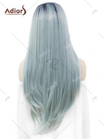Discount Adiors Long Free Part Ombre Glossy Straight Lace Front Synthetic Wig - LIGHT BLUE  Mobile