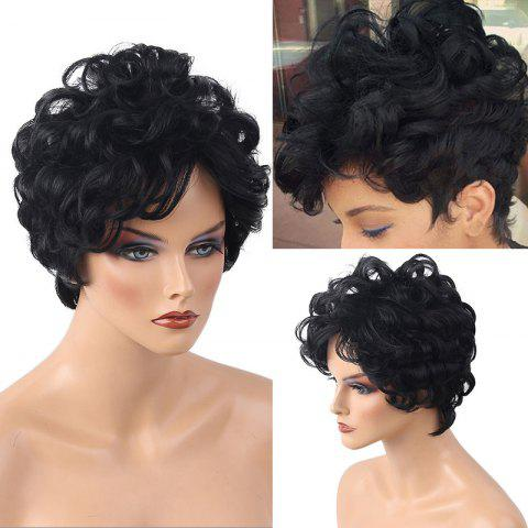 Latest Short Side Bang Layered Shaggy Curly Human Hair Wig JET BLACK #01