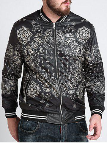Hot Zipper Fly Ethnic Graphic Pattern Jacket - 3XL BLACK Mobile