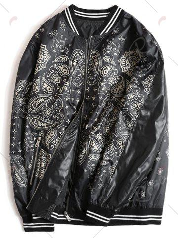 Fashion Zipper Fly Ethnic Graphic Pattern Jacket - 3XL BLACK Mobile