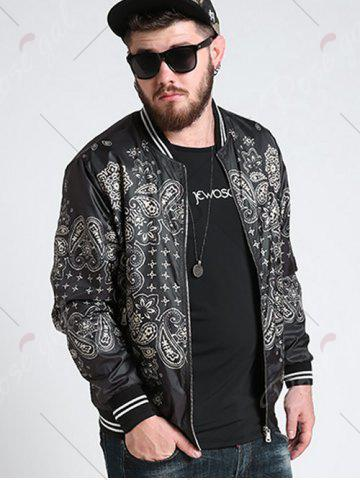 Shops Zipper Fly Ethnic Graphic Pattern Jacket - 3XL BLACK Mobile