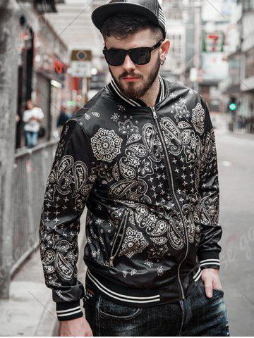 Shop Zipper Fly Ethnic Graphic Pattern Jacket - 3XL BLACK Mobile
