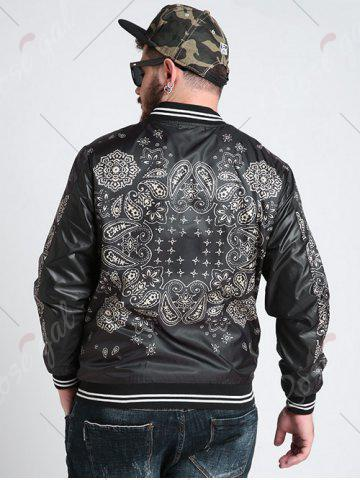 Outfits Zipper Fly Ethnic Graphic Pattern Jacket - 3XL BLACK Mobile