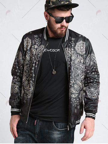 Best Zipper Fly Ethnic Graphic Pattern Jacket - 3XL BLACK Mobile
