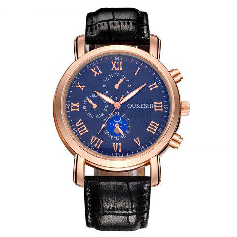 Store OUKESHI Roman Numeral Faux Leather Strap Analog Watch - BLUE AND BLACK  Mobile
