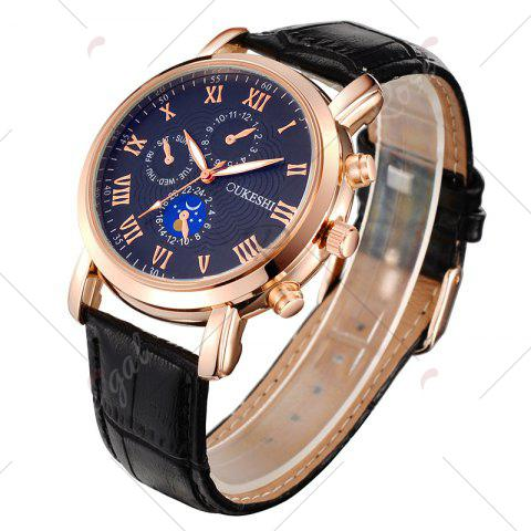 Shop OUKESHI Roman Numeral Faux Leather Strap Analog Watch - BLUE AND BLACK  Mobile