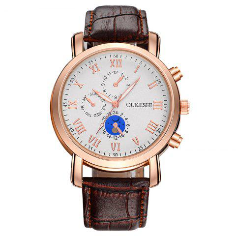 Outfit OUKESHI Roman Numeral Faux Leather Strap Analog Watch BROWN