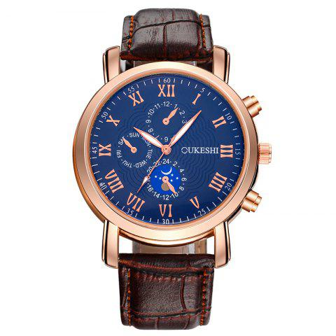 Discount OUKESHI Roman Numeral Faux Leather Strap Analog Watch - BLUE + BROWN  Mobile