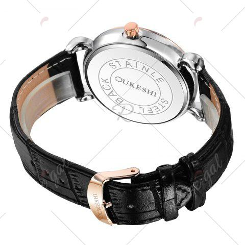 Sale OUKESHI Faux Leather Strap Number Date Quartz Watch - BLACK  Mobile