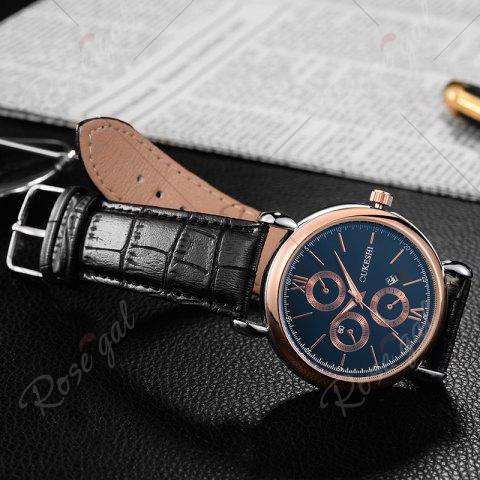Chic OUKESHI Faux Leather Strap Number Date Quartz Watch - BLUE AND BLACK  Mobile