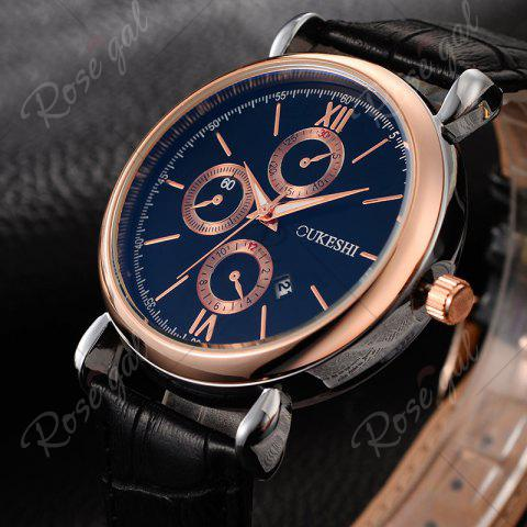 Fancy OUKESHI Faux Leather Strap Number Date Quartz Watch - BLUE AND BLACK  Mobile
