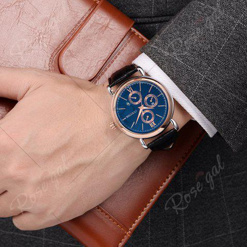 Latest OUKESHI Faux Leather Strap Number Date Quartz Watch - BLUE AND BLACK  Mobile