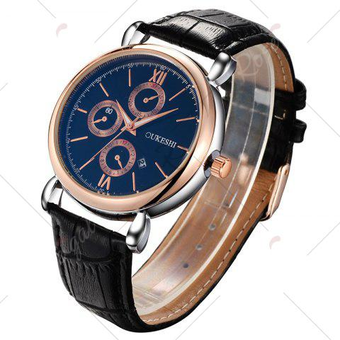 Sale OUKESHI Faux Leather Strap Number Date Quartz Watch - BLUE AND BLACK  Mobile