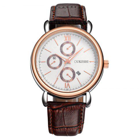 Chic OUKESHI Faux Leather Strap Number Date Quartz Watch BROWN