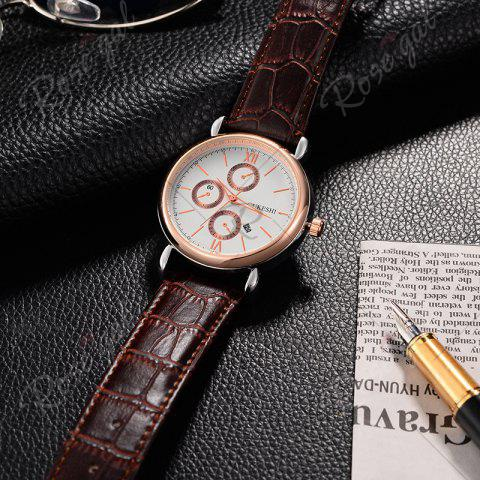 Latest OUKESHI Faux Leather Strap Number Date Quartz Watch - BROWN  Mobile