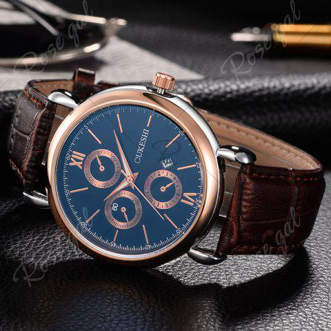 Fashion OUKESHI Faux Leather Strap Number Date Quartz Watch - BLUE + BROWN  Mobile